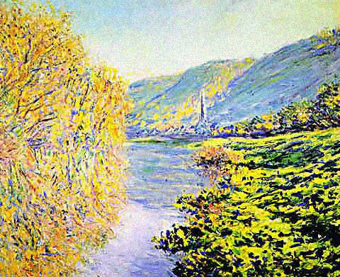 Claude Monet-Banks of the Seine at Jeufosse Autumn