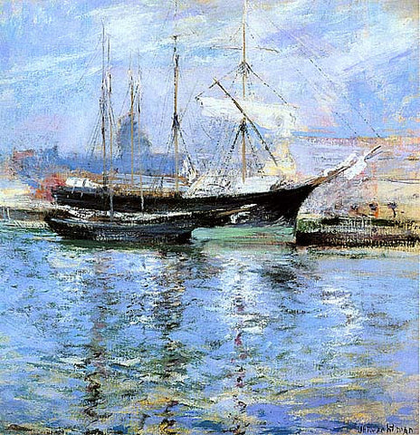 John Henry Twachtman-Bark And Schooner