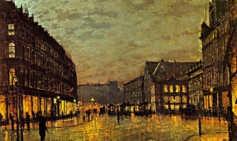 John Atkinson Grimshaw-Boar Lane Leeds By Lamplight 1881