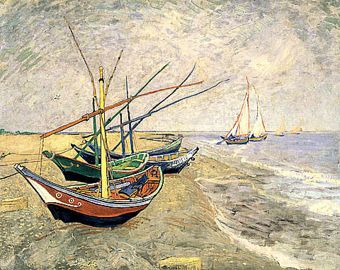 Vincent Van Gogh-Boats On The Beach At Saintes Maries