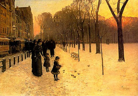 Childe Hassam-Boston Common At Twilight