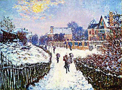 Claude Monet-Boulevard Saint Denis at Argenteuil in Winter
