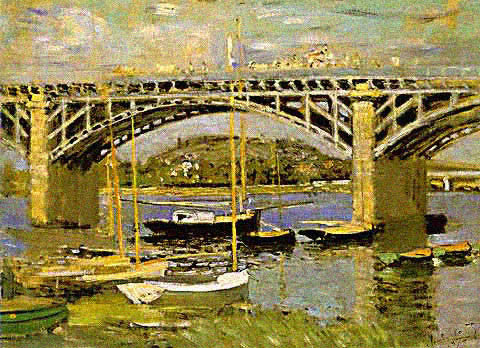 Claude Monet-Bridge at Argenteuil Front View