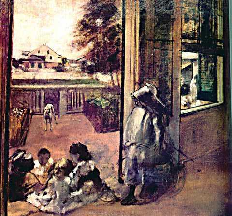 Edgar Degas-Children On A Doorstep