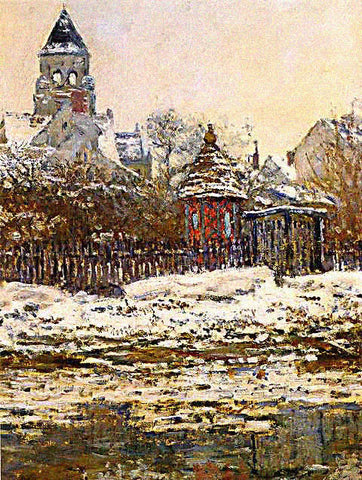 Claude Monet-Church at Vetheuil Winter