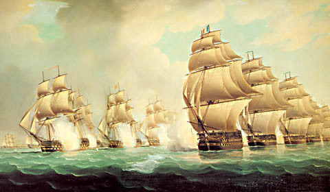Thomas Buttersworth-Commodore Dance Discovering The French Fleet 1804