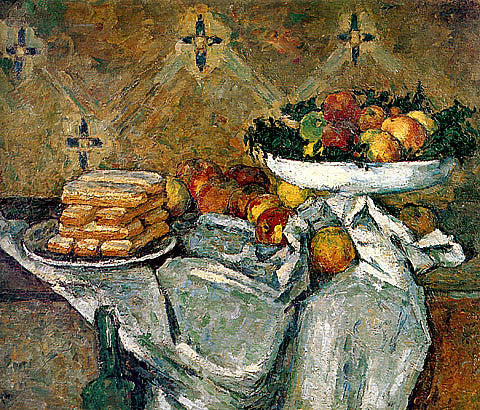 Paul Cezanne-Compotier And Plate Of Biscuits