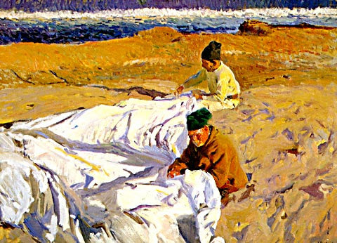 Joaquin Sorolla-Sewing The Sail 1904