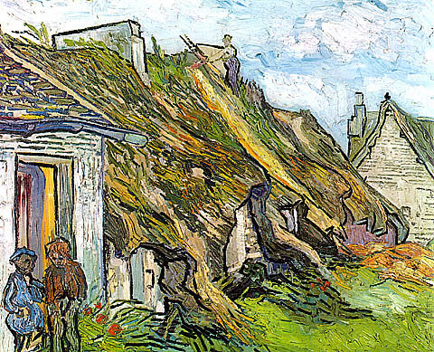 Vincent Van Gogh-Cottages With Thatched Roofs And Figures