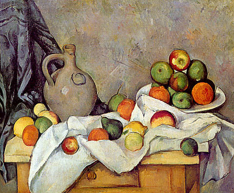 Paul Cezanne-Curtain Jug And Compotier