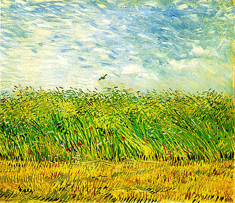 Vincent Van Gogh-Edge Of A Wheat Field With Poppies And A Lark