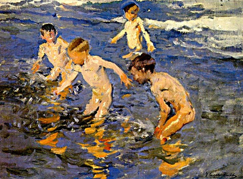 Joaquin Sorolla-The Beach Bath