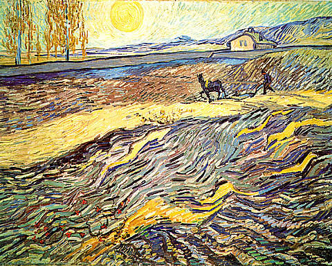 Vincent Van Gogh-Enclosed Field With Ploughman