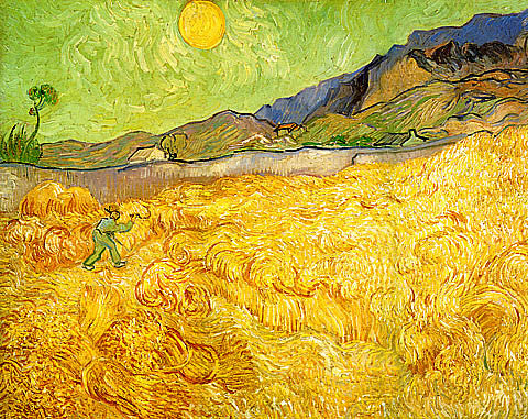 Vincent Van Gogh-Reaper At Sunrise Green Sky