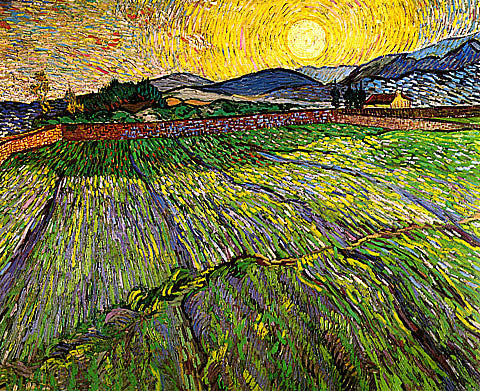 Vincent Van Gogh-Young Wheat And Rising Sun