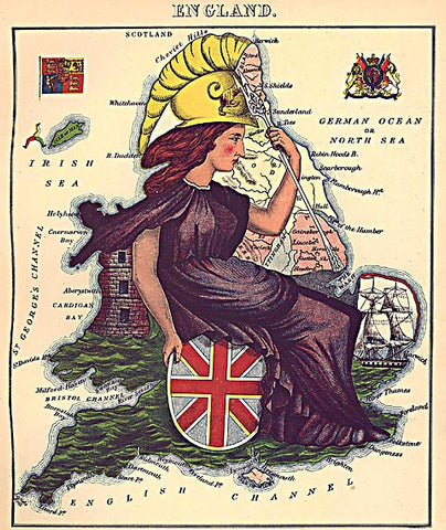 Unknown Artist-England Caricature Map
