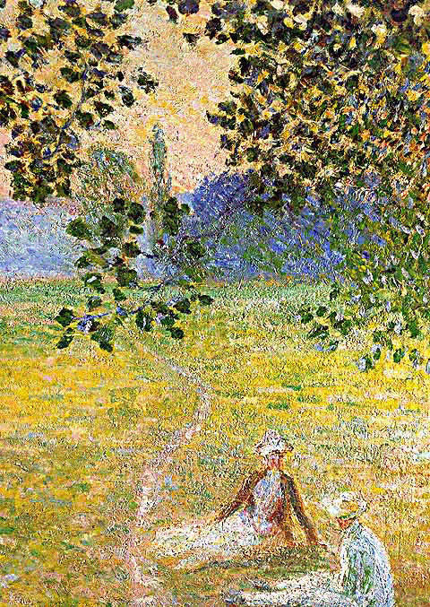 Claude Monet-Evening in the Meadow at Giverny Detail