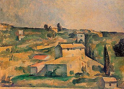Paul Cezanne-Farmhouses Near Bellevue