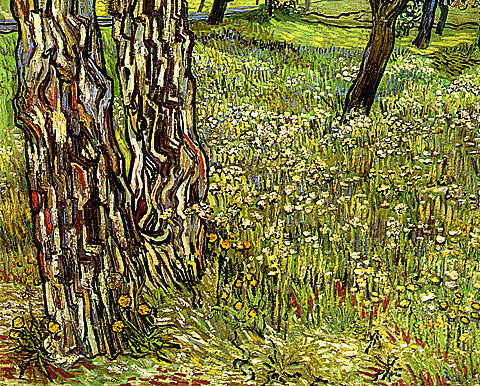 Vincent Van Gogh-Field Of Grass With Dandelions And Tree Trunks