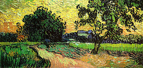 Vincent Van Gogh-Field With Trees And The Castle Of Auvers