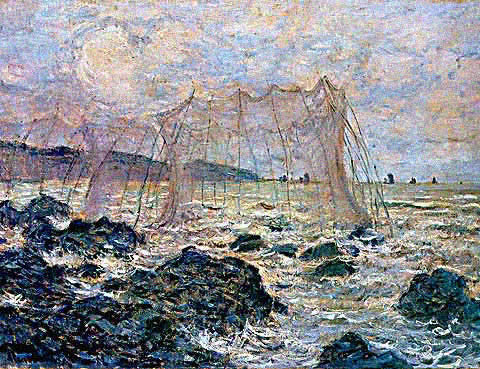 Claude Monet-Fishing Nets at Pourville