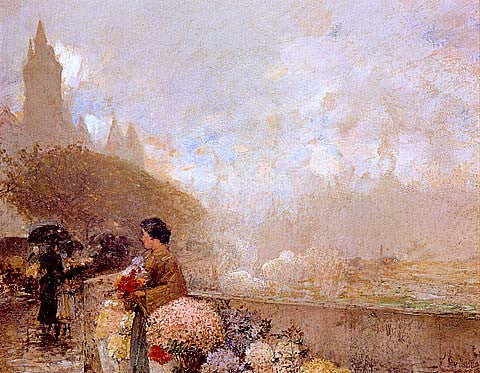 Childe Hassam-Flower Girl By The Seine