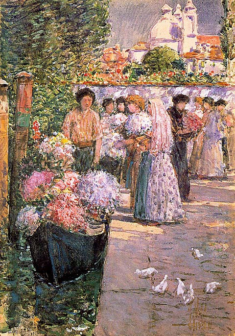 Childe Hassam-Flower Market