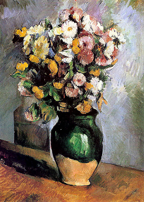 Paul Cezanne-Flowers In An Olive Jar