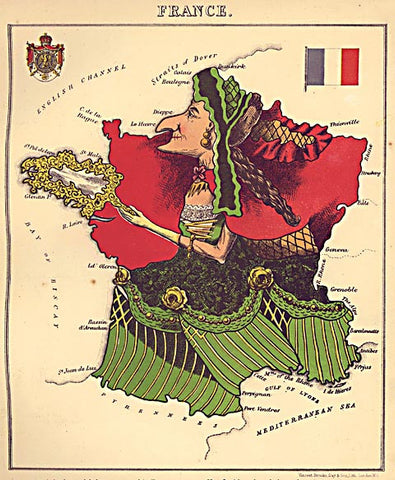 Unknown Artist-France Caricature Map