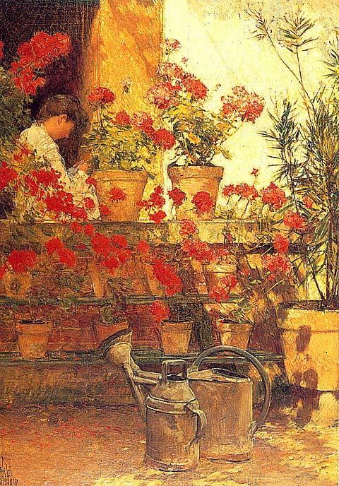 Childe Hassam-Geraniums