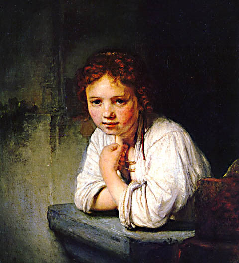Rembrandt-Girl Leaning On A Window Sill