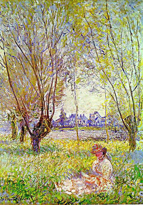 Claude Monet-Girl Seated Beneath a Willow