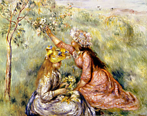 Pierre Auguste Renoir-Girls Picking Flowers In A Meadow 1890