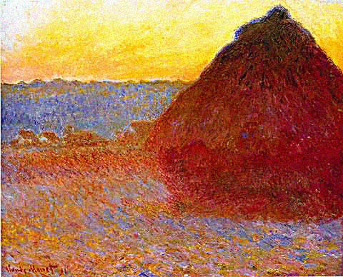 Claude Monet-Grainstack Sunset