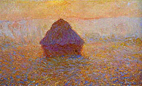 Claude Monet-Grainstack Sun in the Mist