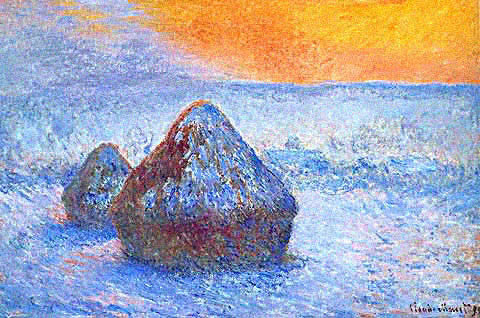 Claude Monet-Grainstacks Snow Effect