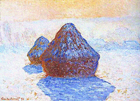 Claude Monet-Grainstacks White Frost Effect