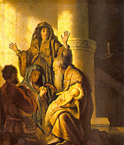 Rembrandt-Hannab And Simeon In The Temple