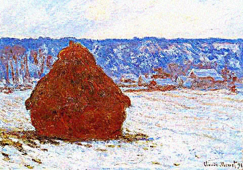Claude Monet-Haystacks in a Thaw at Sunset