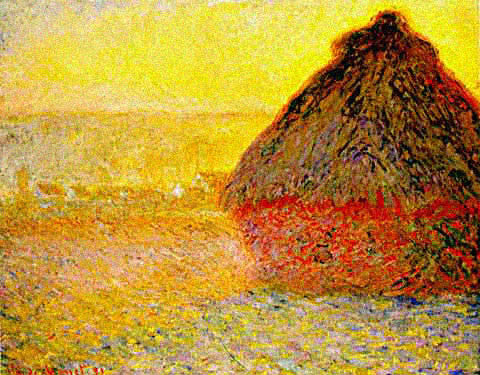 Claude Monet-Haystacks at Sunset