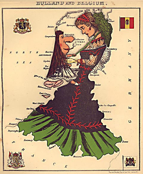 Unknown Artist-Holland and Belgium Caricature Map