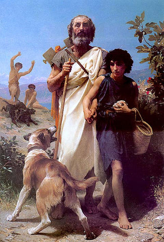 William Adolphe Bouguereau-Homer And His Guide