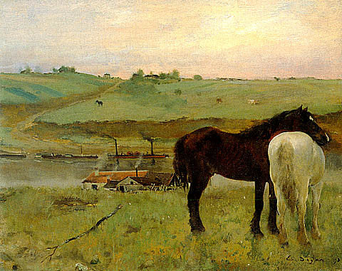 Edgar Degas-Horses In A Meadow