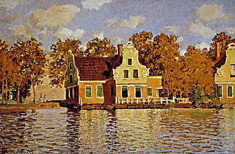 Claude Monet-Houses on the Zaan 1871
