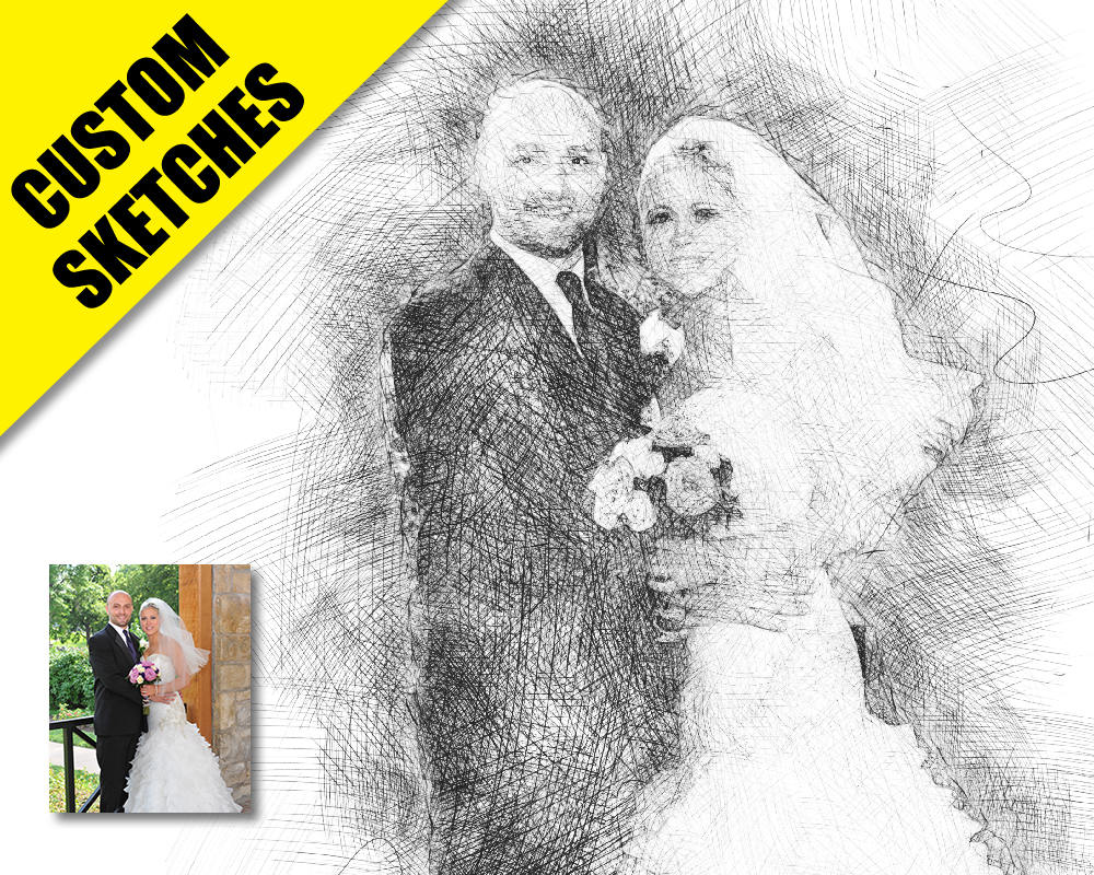 Wedding portrait custom sketch-1