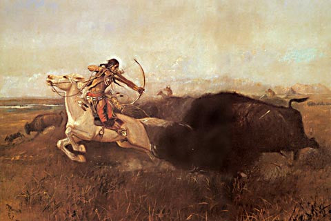 Charles Russell-Indians Hunting Buffalo