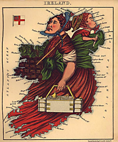 Unknown Artist-Ireland Caricature Map