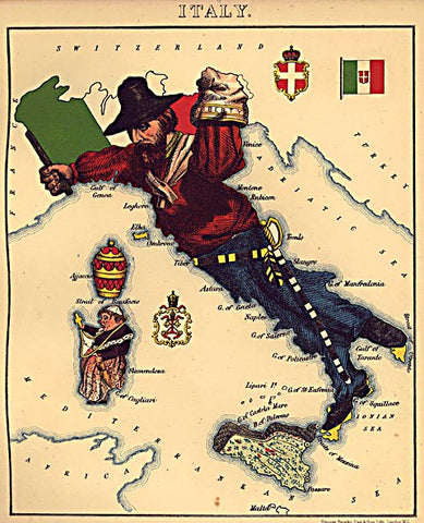 Unknown Artist-Italy Caricature Map