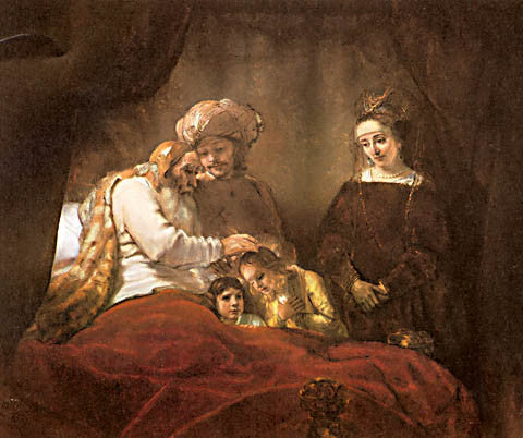 Rembrandt-Jacob Blessing The Sons Of Joseph