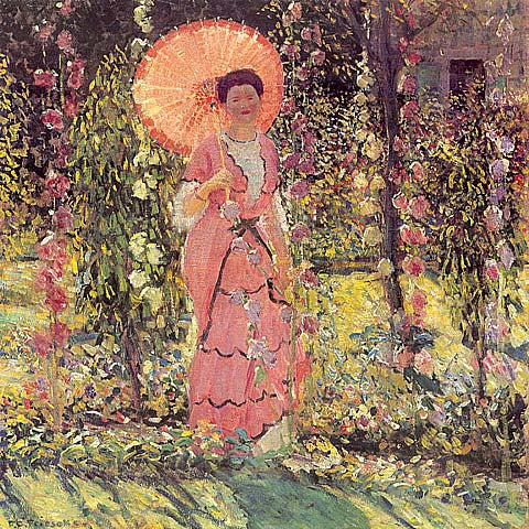 Frederick Frieseke-Lady In A Garden